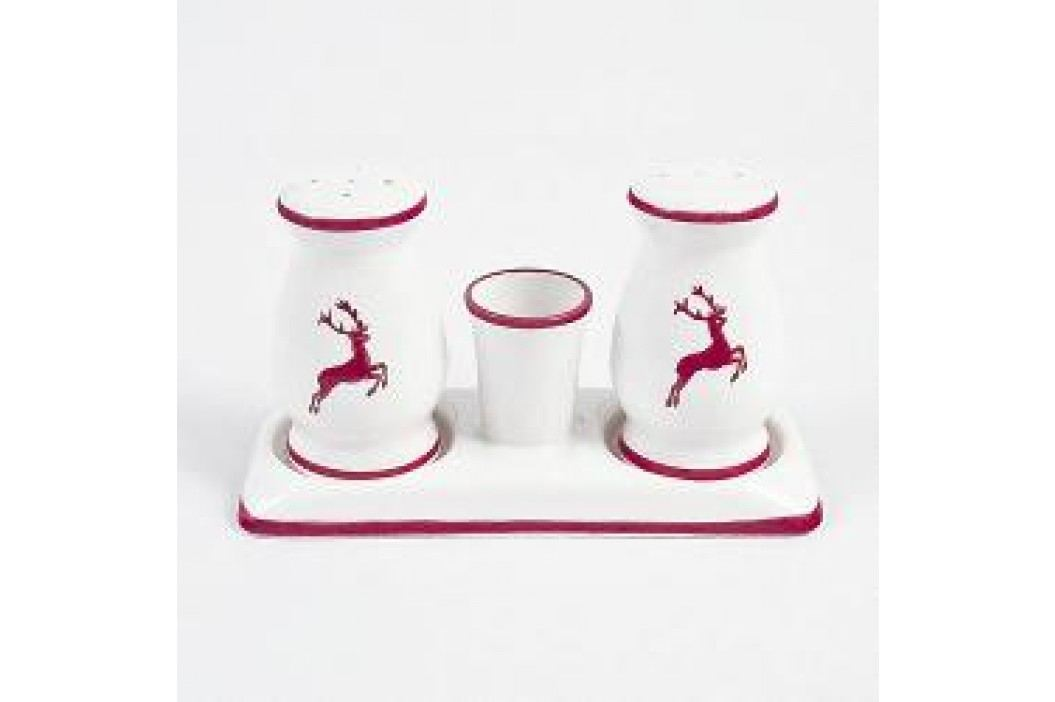 Gmundner Ceramics Red Deer Salt / Pepper Set Bulbous Height 9 cm, Platter white Length 14 cm Service & Geschirrsets