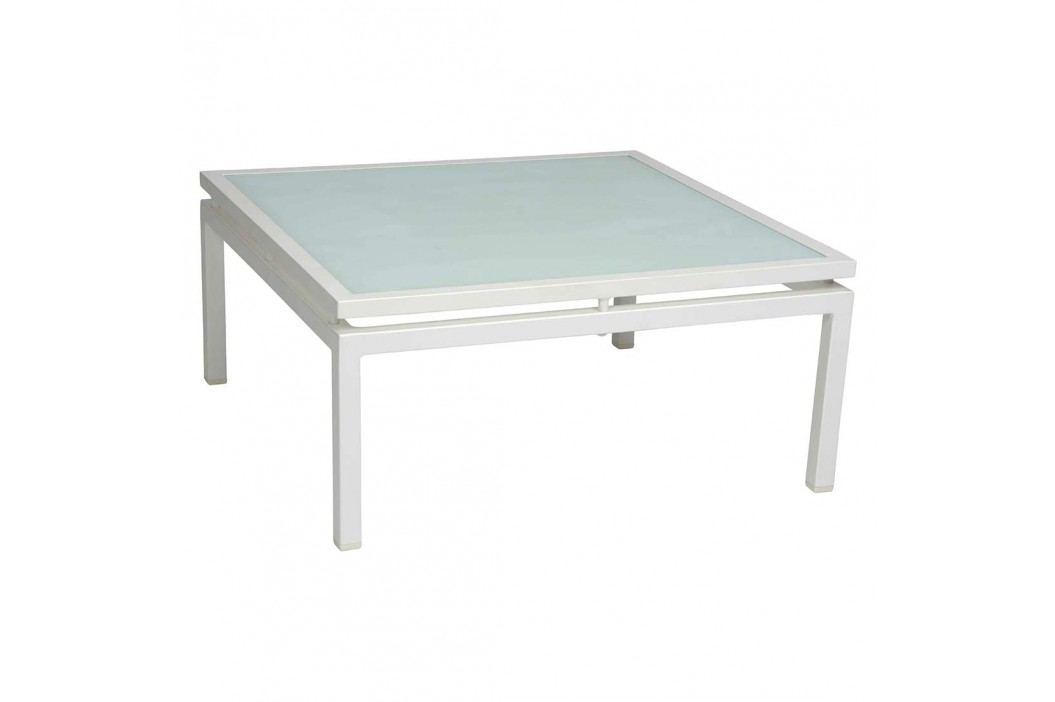 Stern Skelby Loungetisch 75x75cm Aluminium/Glas Weiß Gartentische