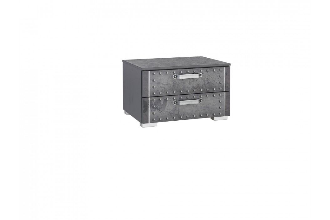 Nachtkommode Industrial-Print-Optik/ Graphit Rauch Select Workbase Grau Holz Modern Nachttische