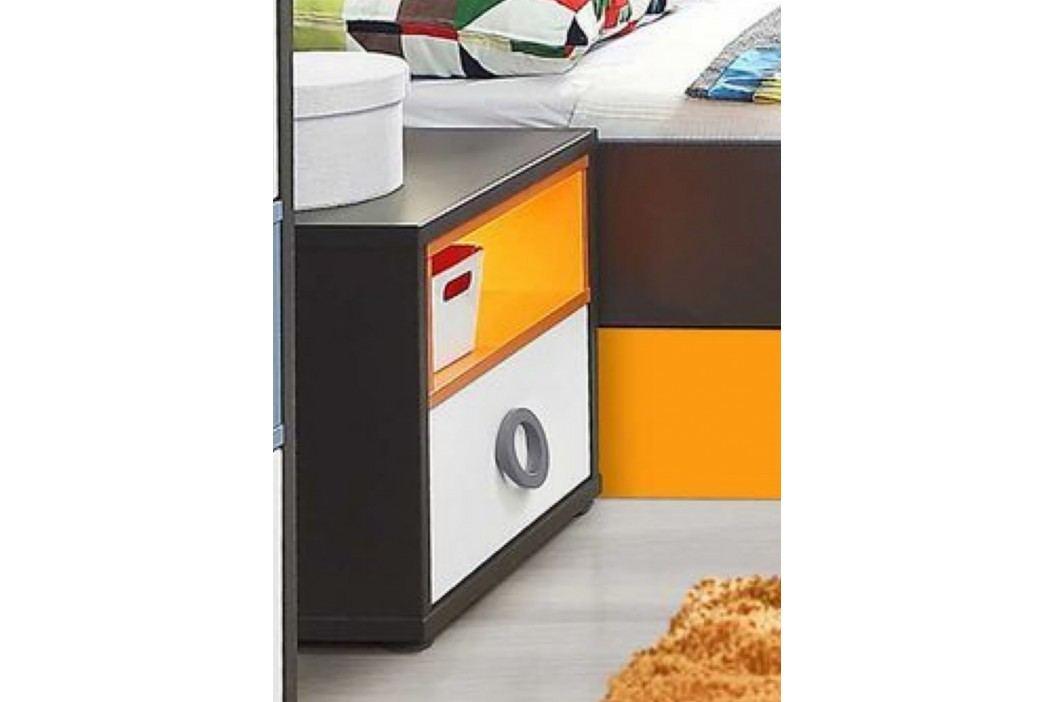 Nachtkonsole Grau/ Weiss/ Orange Forte MÖbel Colors Holz Modern Nachttische