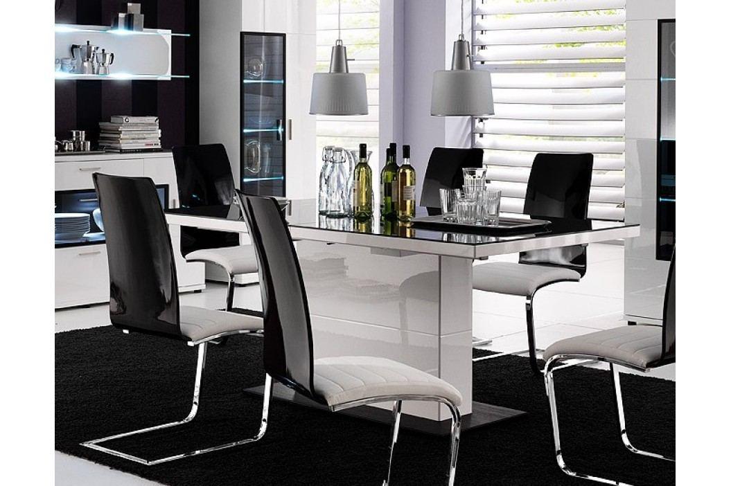 Esstisch Weiss Hochglanz Mit Schwarzer Glaseinlage Mca-Furniture Lorano Weiß Holz Stylisch Esstische