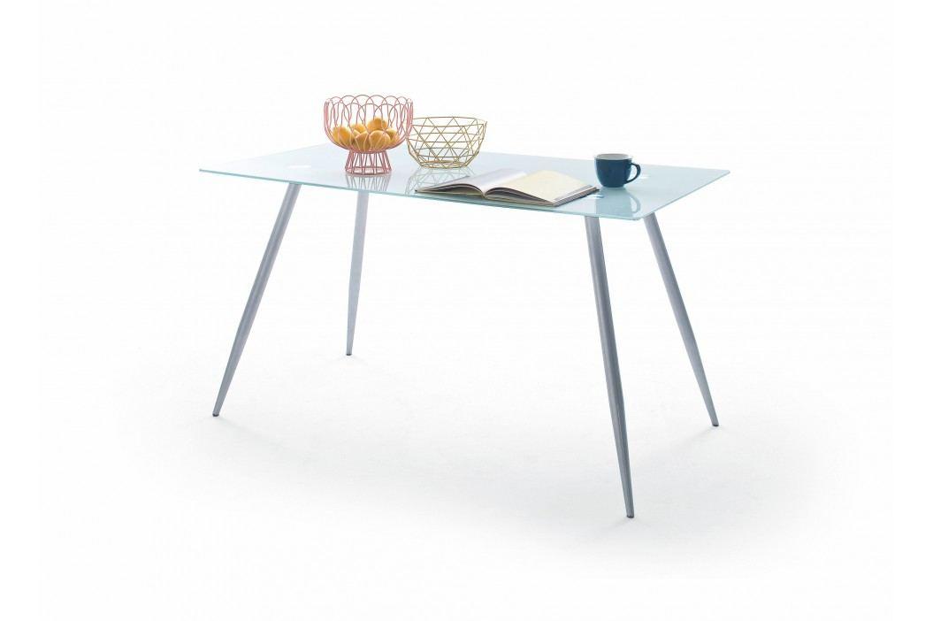 Esstisch 140 X 80 Cm Sicherheitsglas Weiss / Metallgestell Matt Verchromt Mca-Furniture Aloz Weiß Modern Esstische