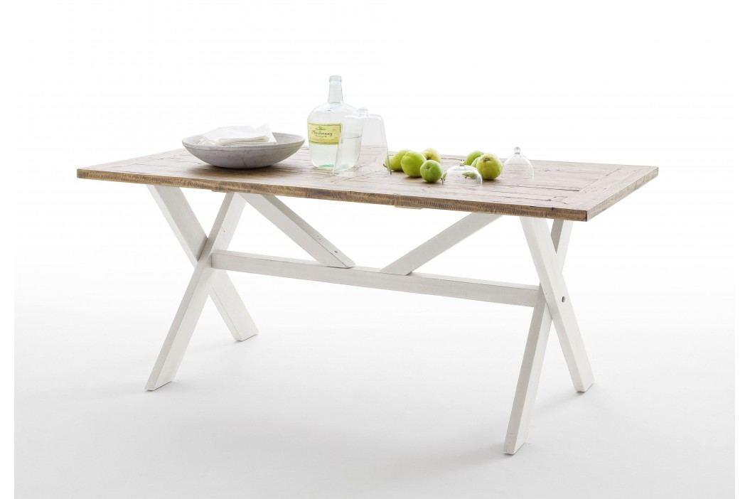 Esstisch 180 X 90 Cm Recycle Kiefer Weiss/ Vintage Braun Mca-Furniture Noryb Weiß Holz Landhaus Esstische