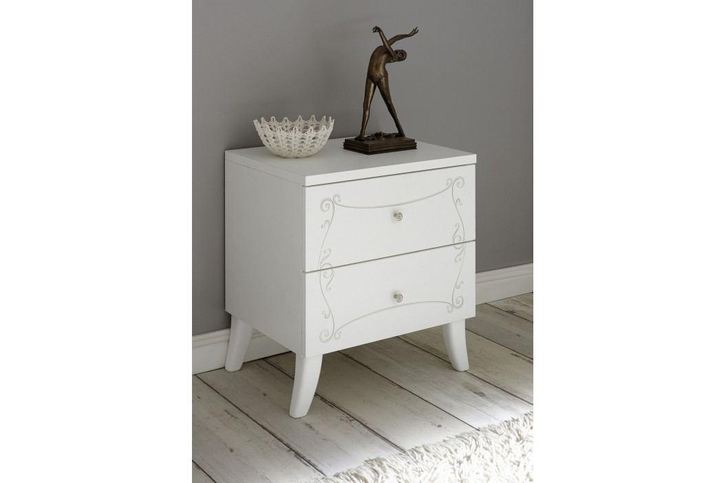 Nachtkommode Weiss Geriffelt Mit Siebdruck Classico Soler Weiß Holz Modern Nachttische