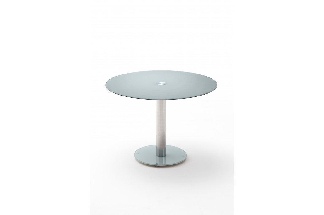 Glastisch Rund 100 Cm Petrol Lackiert Mca-Furniture Oklaf Blau Chrom Modern Esstische