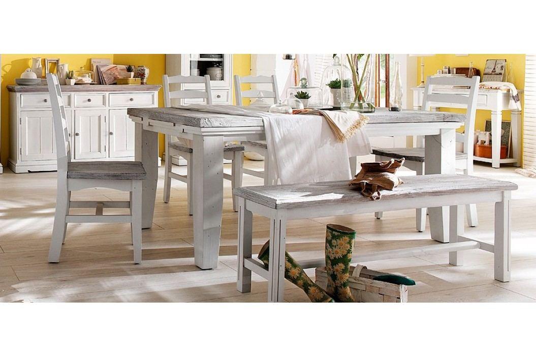 Esstisch 180 X 105 Cm Ausziehbar Kiefer Weiss / White Sanded Massiv Mca-Furniture Pokus Landhaus Esstische