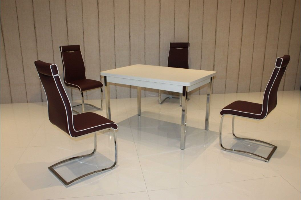 Tischgruppe Weiss/ Marsala Top Form 2 Asil Weiß Holz Esstische