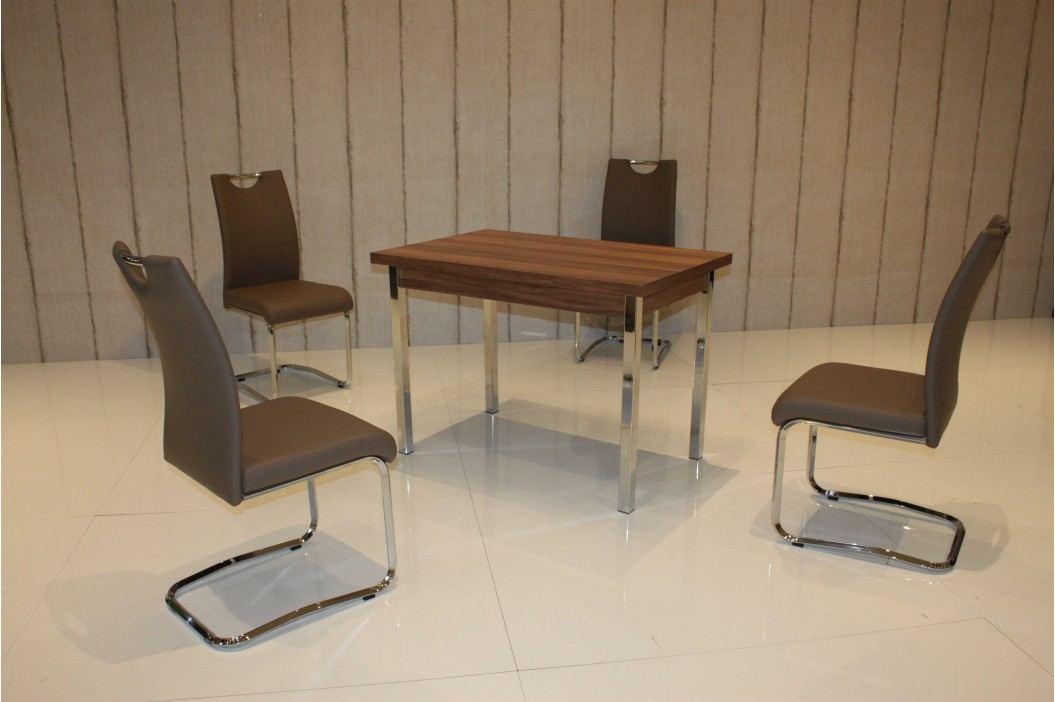 Tischgruppe Wanuss/ Cappuccino Top Form 5 Aral Walnuss Holz Esstische