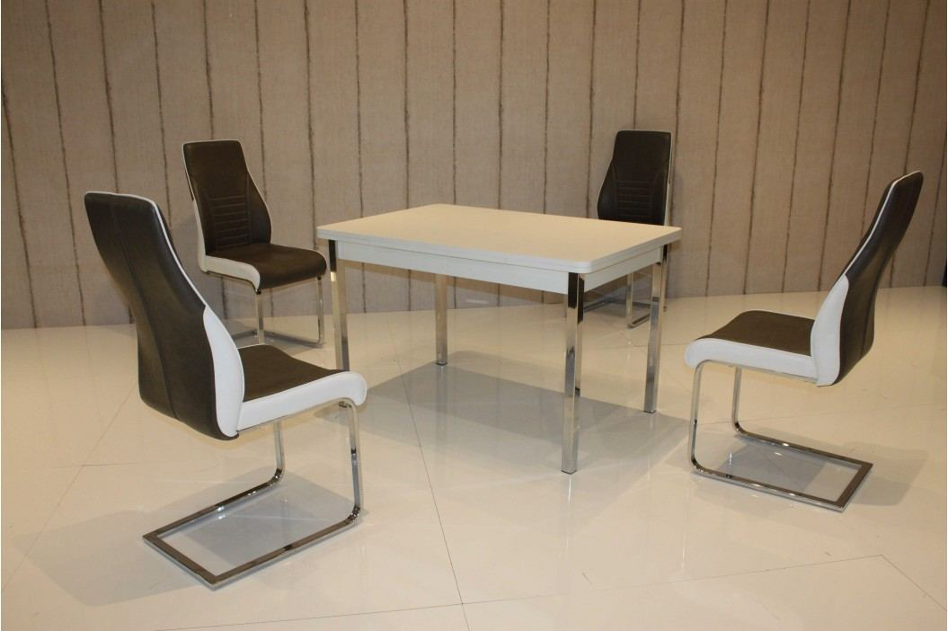 Tischgruppe Perlweiss/ Sepia-Brau Top Form 2 Ailec Weiß Holz Esstische