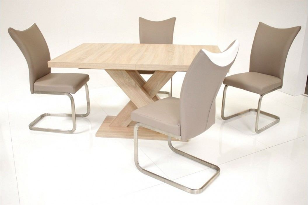 Tischgruppe Eiche Sonoma/ Cappuccino-Weiss Top Form Andre So/ Solea Eiche Sonoma Sägerau Holz Esstische
