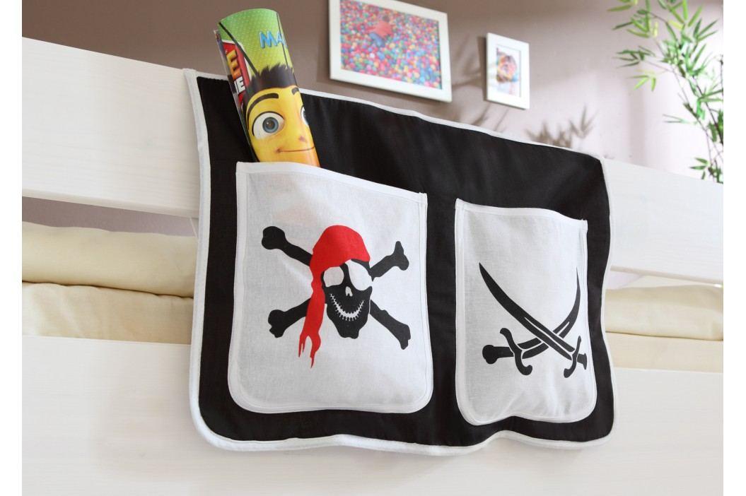 Bett-Tasche Für Hoch- Und Etagenbetten ´´pirat Schwarz-Weiß´´ Mvh-Ticaa Baumwolle Modern  Betttaschen & Vorhänge