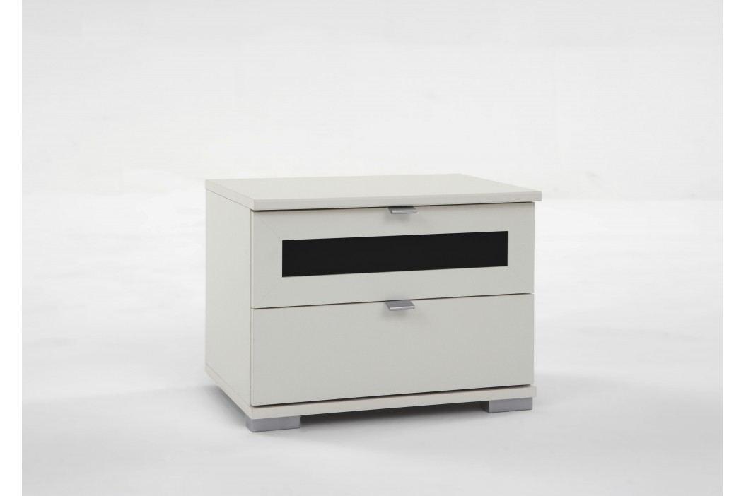 Nachtkommode Alpinweiss/ Glas Schwarz Wimex Box Plus Modern Nachttische