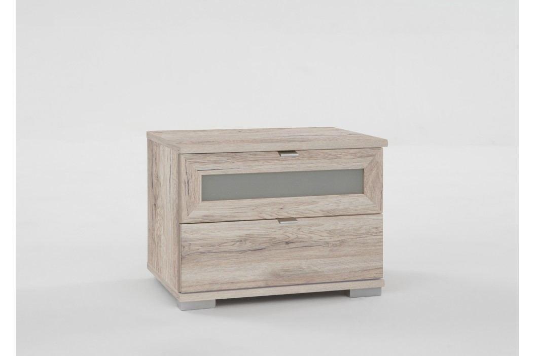 Nachtkommode Weisseiche/ Milchglaseinsatz Wimex Box Modern Nachttische
