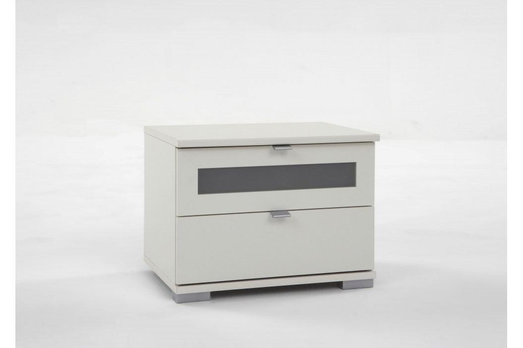 Nachtkommode Alpinweiss/ Milchglaseinsatz Wimex Box Weiß Modern Nachttische