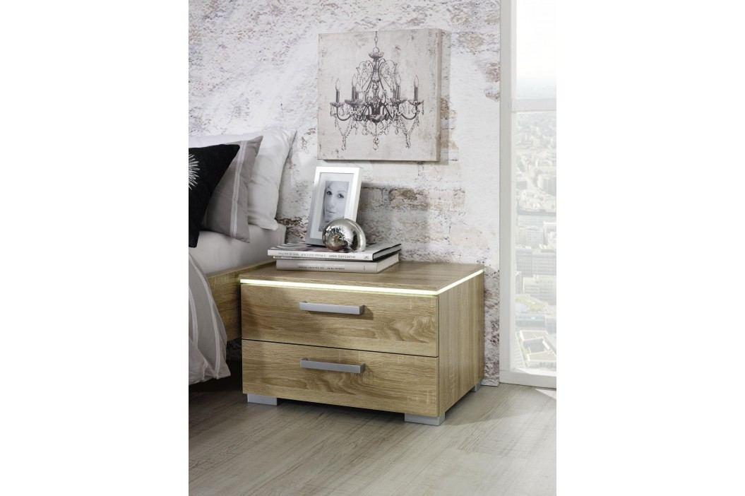 Nachttisch Eiche Sonoma/ Alu Rauch Steffen Calero Sonoma-Eiche Holz Modern Nachttische