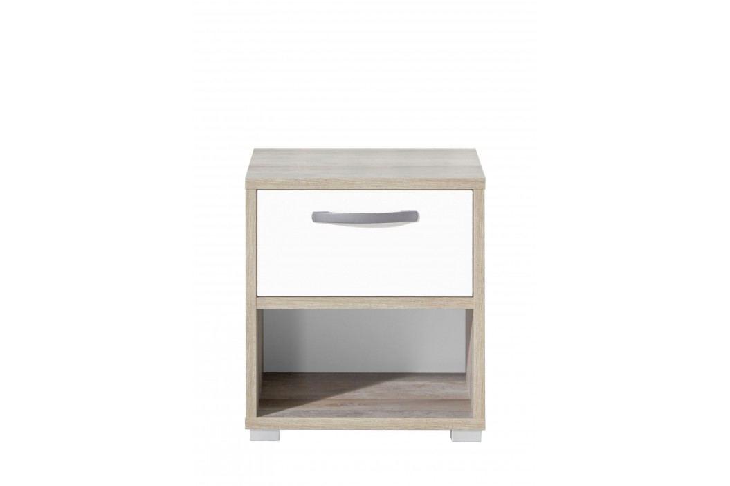 Nachtkommode In Driftwood/ Weiss Polpower Noom Braun Holzwerkstoffe Modern Nachttische