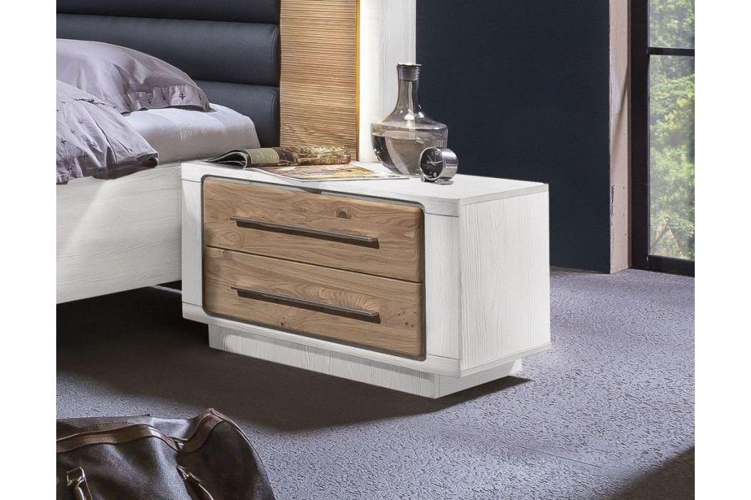 Nachtkommode Asteiche Bianco/ Pinie Weiss Teilmassiv Telmex Elba Holz Modern Nachttische