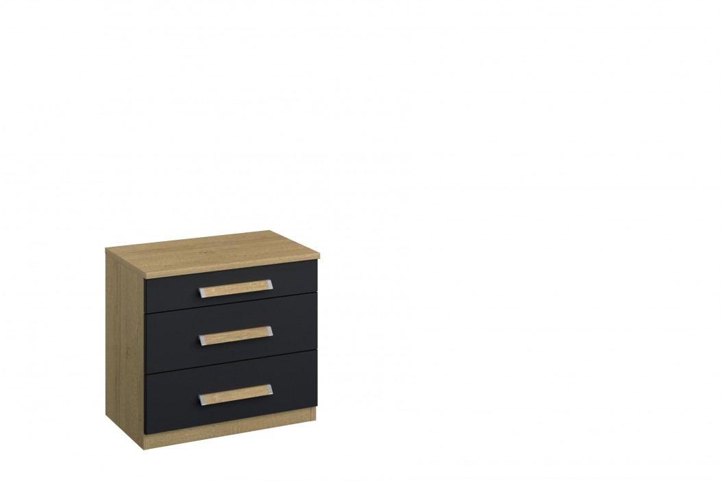 Nachtkommode Grau-Metallic Rauch Packs Anotla Holz Modern Nachttische