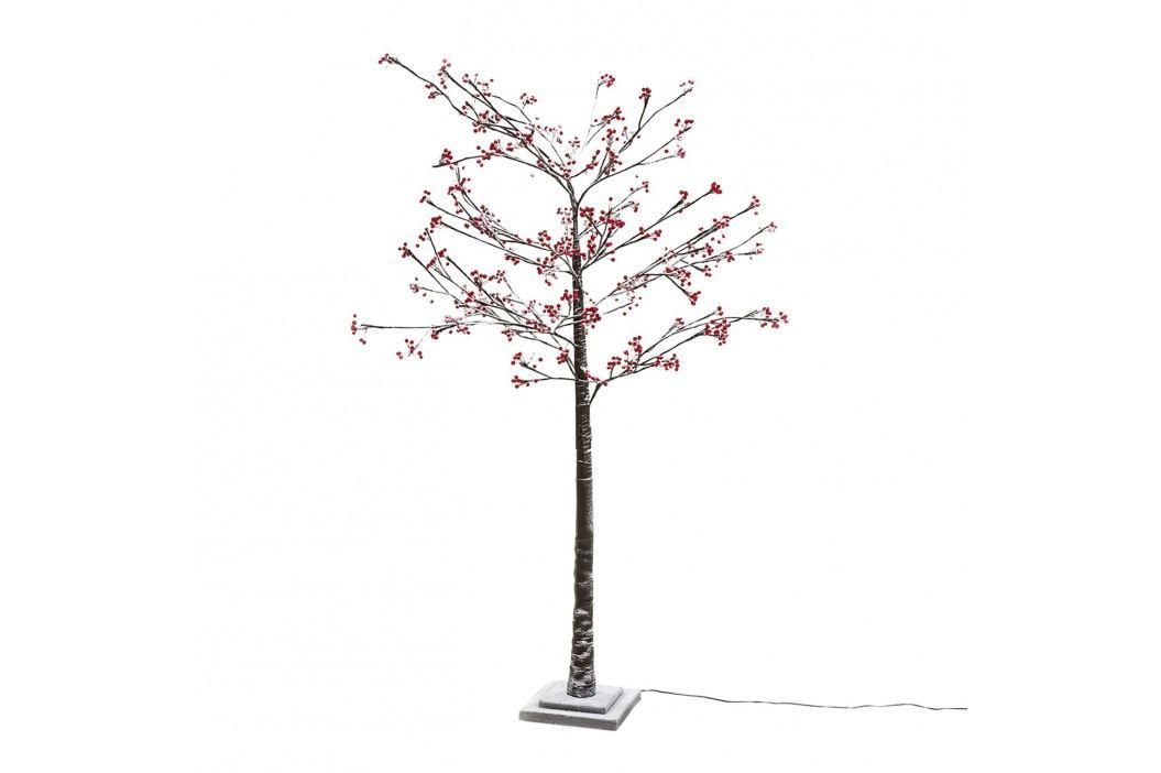 EEK A+, LED-Kunstbaum Skive - Kunststoff - Braun / Rot, Pure Day Kunstpflanzen