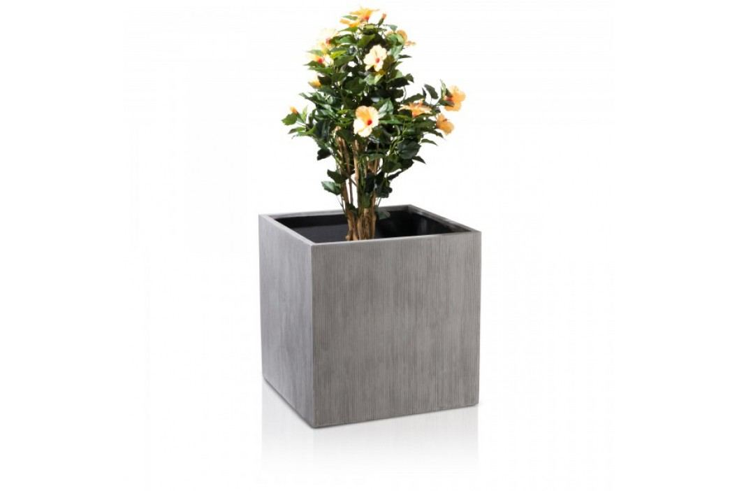 Großer Blumenkübel für draussen CUBO 60 grau geriffelt 60x60x60 cm Blumentöpfe