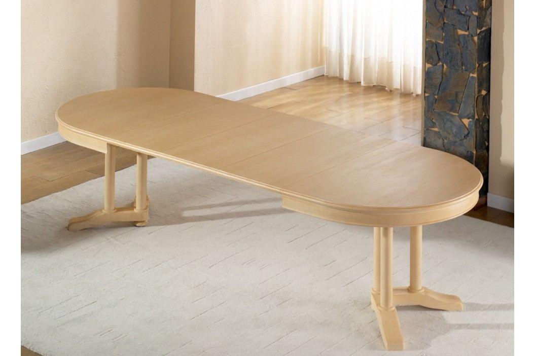 Esstisch oval mit Einlagen vergrößerbar Allegro Pinie massiv, Pinie weiß lackiert Esstische
