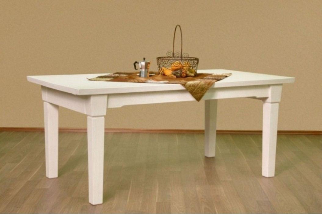 Esstisch mit fester Platte oder Klappeinlage Pinie massiv, feste Platte 180 x 95 cm Pinie weiß gekälkt Esstische