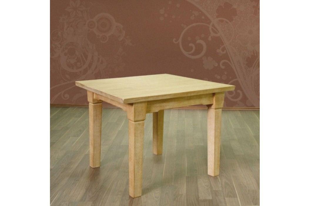Esstisch mit fester Platte oder Klappeinlage Pinie massiv, 80 x 80 + 1 Klappeinl. 40 cm Pinie weiß gekälkt Esstische