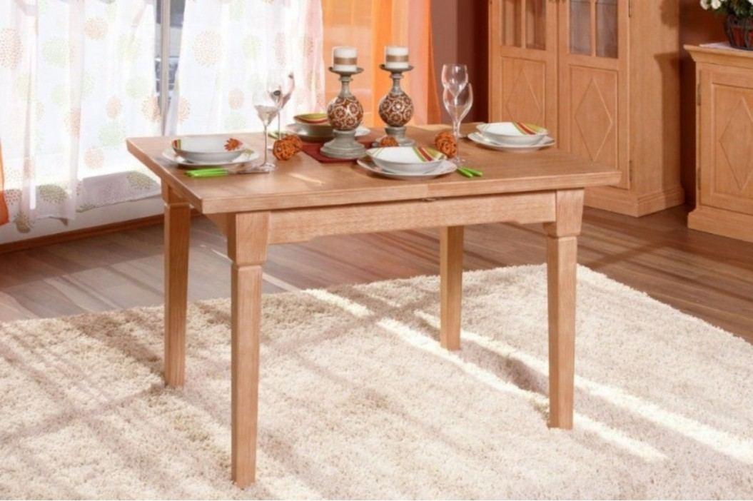 Esstisch mit fester Platte oder Klappeinlage Pinie massiv, 120 x 80 + 1x Klappeinlage 40 cm Pinie karamell Esstische