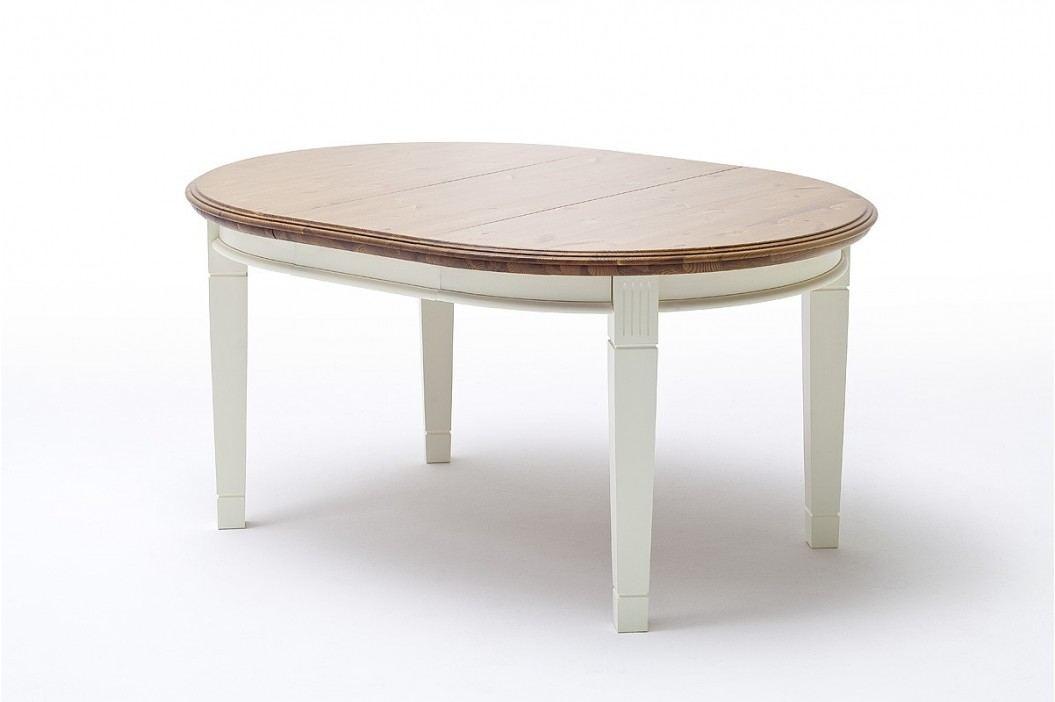 Ess-Tisch Padua rund Ø 120 cm ausziehbar - 159 cm, panna Absetzung sierra mit Einlegeplatte und Zarge Esstische