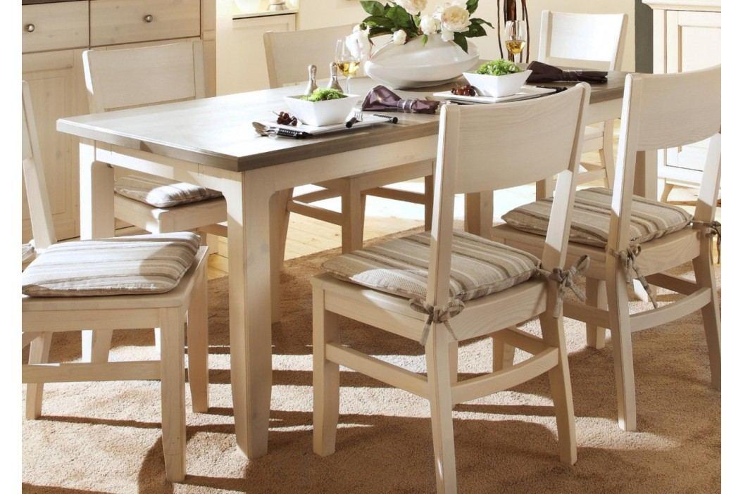 Esstisch Provence 140160180 x 85 cm, 140 x 85 cm weiß lasiert Absetzung grau mit 2x Ansteckplatten Esstische
