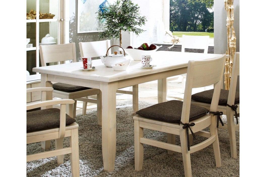 Esstisch Provence 140160180 x 85 cm, 160 x 85 cm weiß lasiert Absetzung braun ohne Auszug Esstische