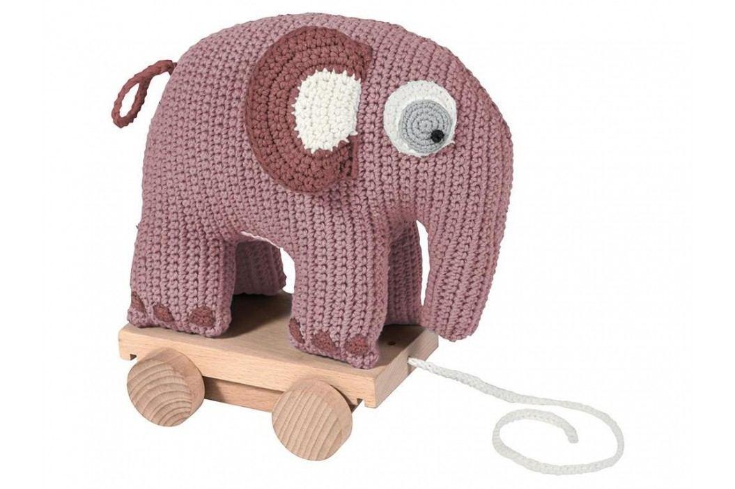 SEBRA® Häkel-Nachziehtier Elefant Altrosa 3001205 Babyspielzeug