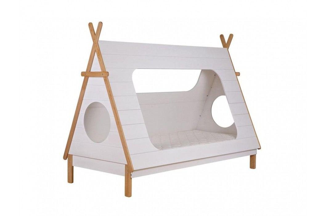 WOOOD Tipi Bett Weiß mit Rolllattenrost 90x200cm 380100-W Kinderbetten