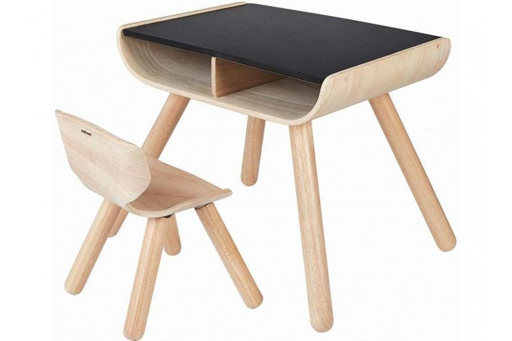 PLAN TOYS PlanHome Sitzgruppe Kindertisch inkl. Kinderstuhl Natur/Schwarz 4008703 Kinderstühle