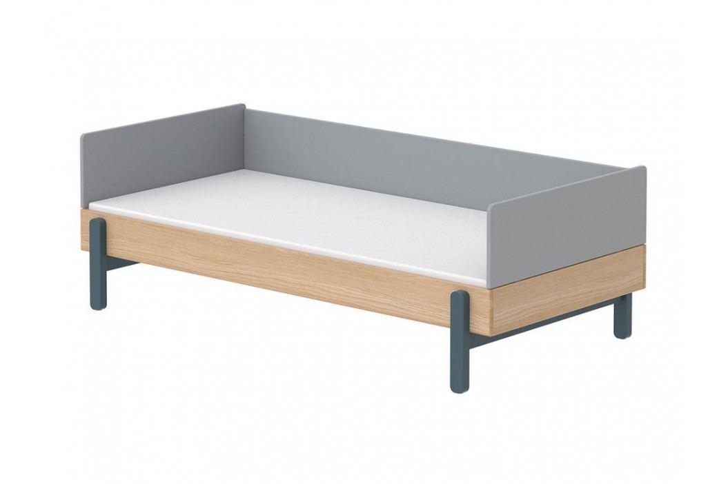 FLEXA Popsicle Bett Niedrig mit Rückenleiste und Kopf-/ Fußteil Blueb. 90x200cm 80-24102-32 Kinderbetten