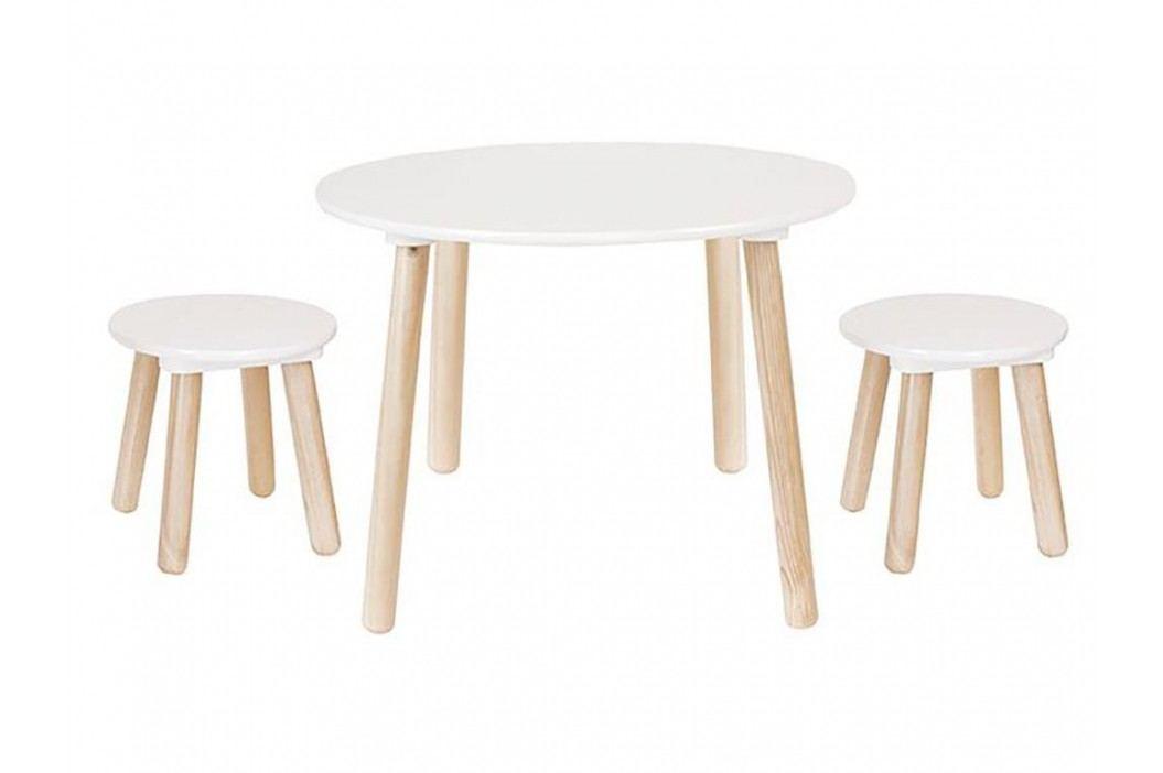 JABADABADO JaBa Furniture Sitzgruppe 3-teilig Weiß/Natur H13201 Kinderstühle