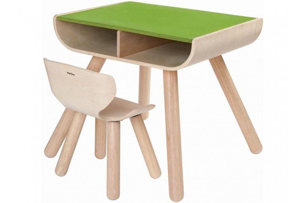 PLAN TOYS PlanHome Sitzgruppe Kindertisch inkl. Kinderstuhl Natur/Grün 4008700 Kinderstühle