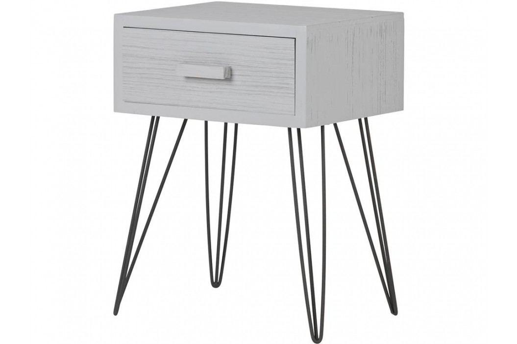 WOOOD Tim Kommode Metall Holz mit 1 Schubladen Beton Grau 373581-BET Nachttische