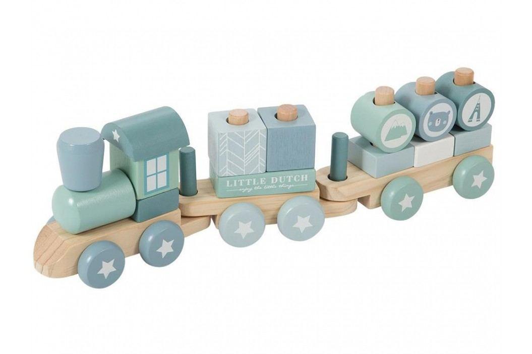 LITTLE DUTCH Adventure Holzeisenbahn mit Steckformen Blue 4417 Holzspielzeug