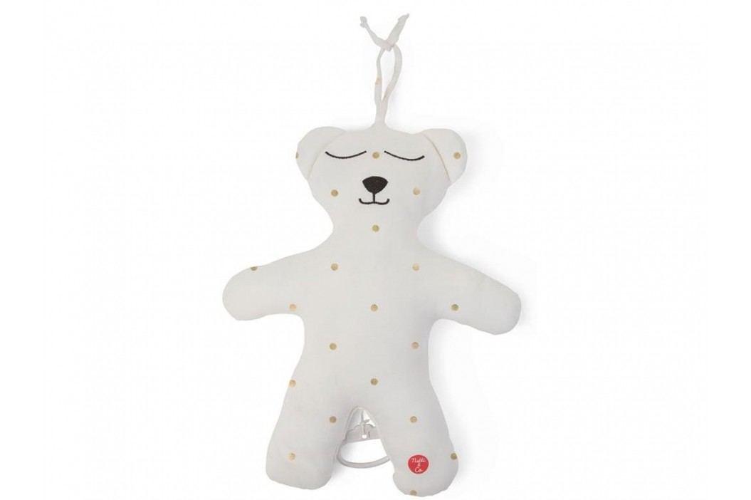 CHILDHOME Teddybär Spieluhr Jersey Weiß Gold Dots Brahms Lullaby CCTBMJGD Babyspielzeug