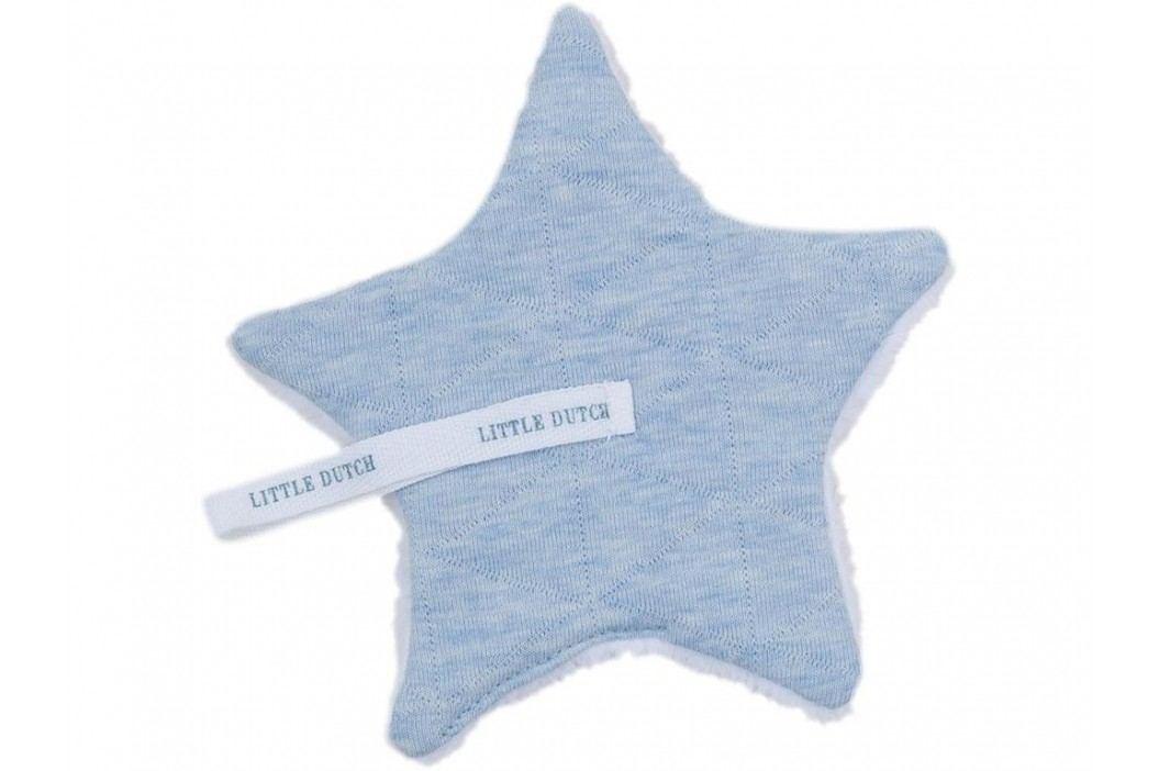 LITTLE DUTCH Melange Schnullertuch Blue 15x15cm 3927 Spielzeug