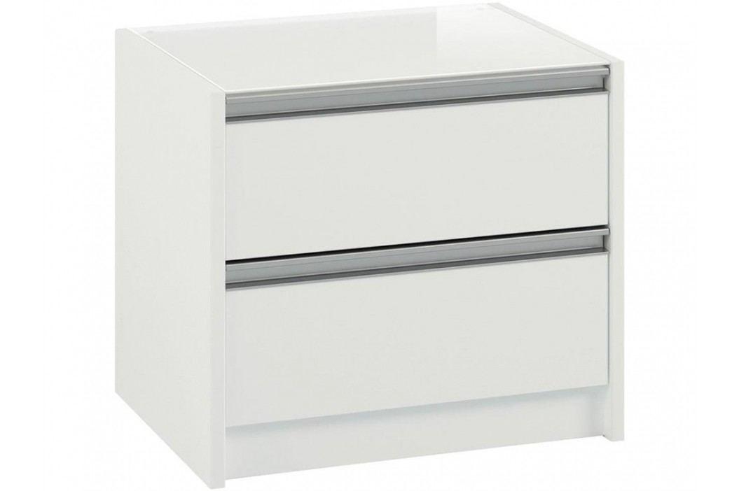 STEENS Nachttisch Skyline Weiß inkl. Abdeckplatte aus Glas und 2 Schubladen 3850020058000F Nachttische