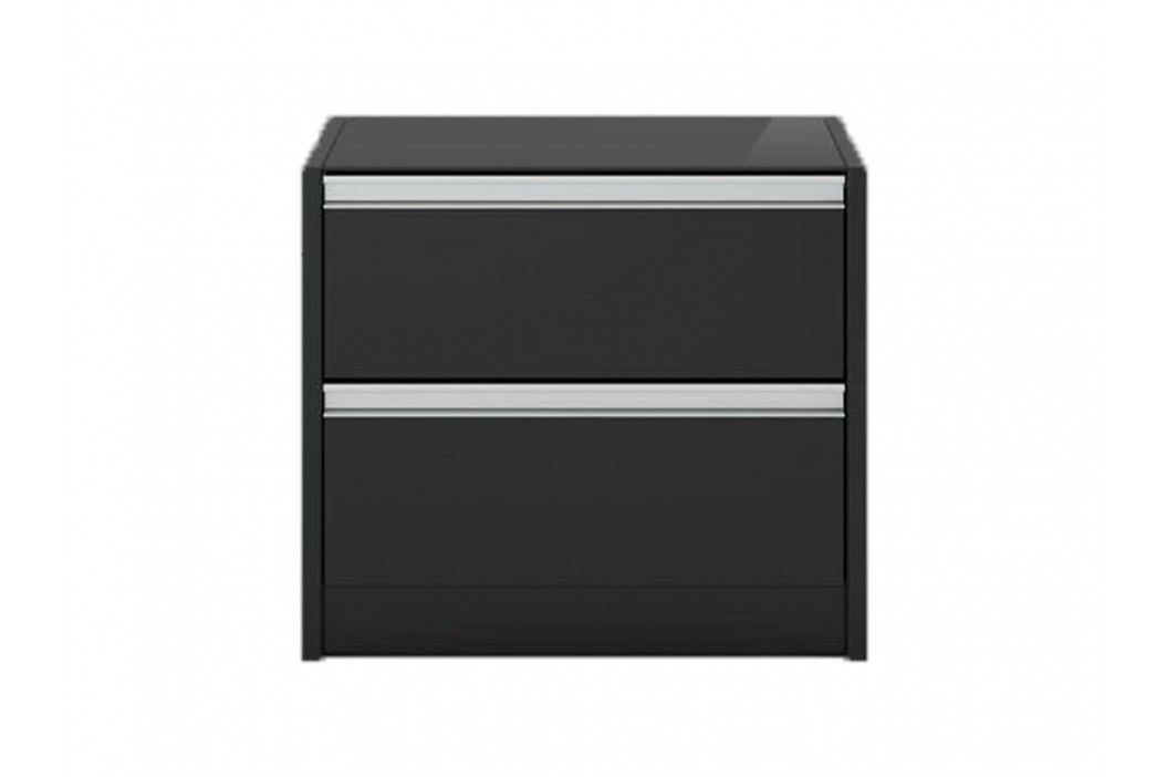 STEENS Nachttisch Skyline Schwarz inkl. Abdeckplatte aus Glas und 2 Schubladen 3850020049000F Nachttische