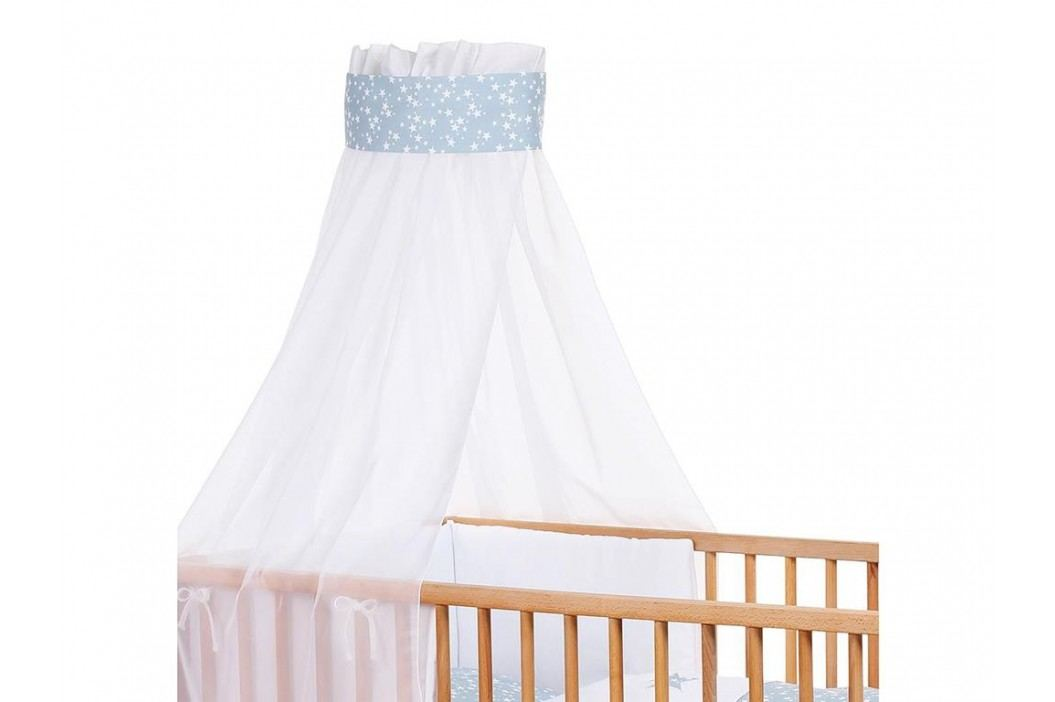 BABYBAY TOBI Babybay Kinderbetthimmel Piqué Weiß mit Band Azurblau Sterne 410329 Betthimmel