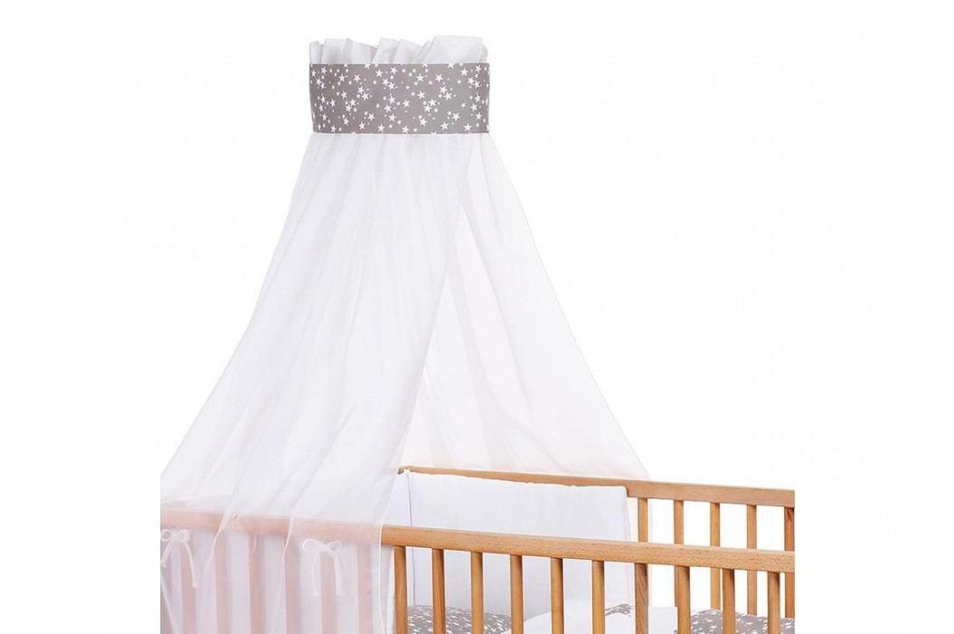 BABYBAY TOBI Babybay Kinderbetthimmel Piqué Weiß mit Band Taupe Sterne 410327 Betthimmel