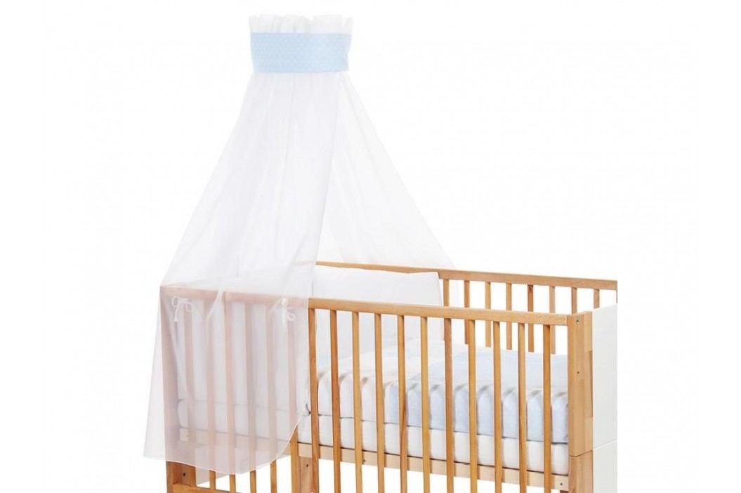 BABYBAY TOBI Betthimmel Weiß mit blauer Stern Banderole für Kinderbett Babybay 400726 Betthimmel