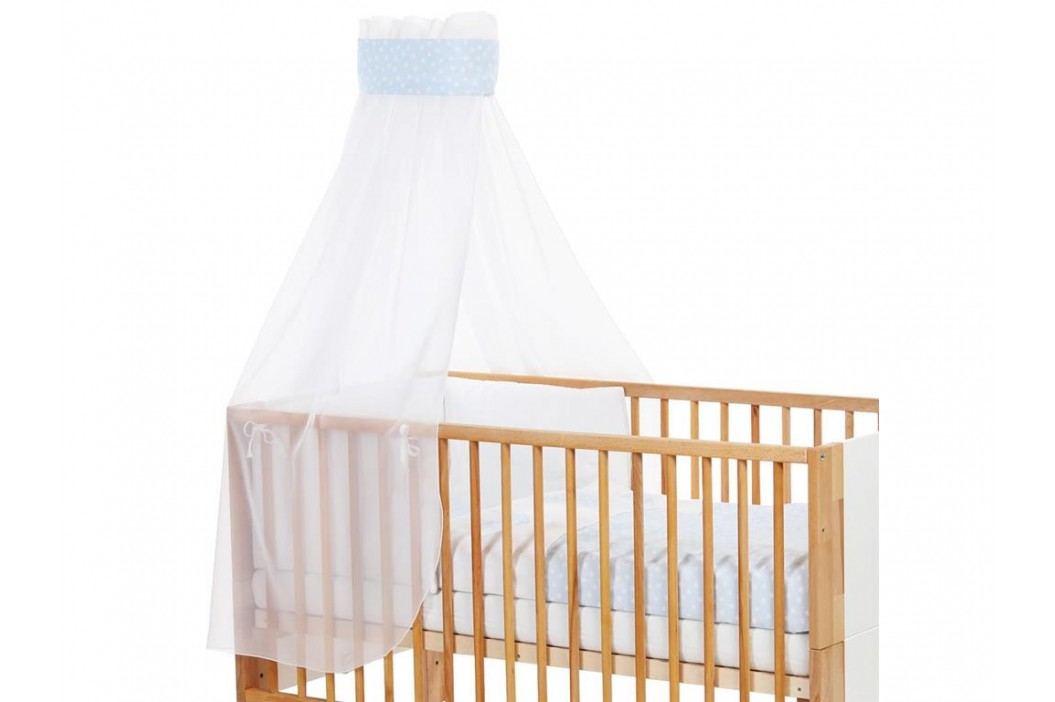 BABYBAY TOBI Betthimmel Weiß mit blauer Punkte Banderole für Kinderbett Babybay 400725 Betthimmel