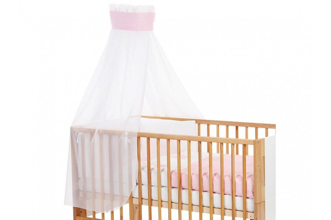 BABYBAY TOBI Betthimmel Weiß mit Rosa Punkte Banderole für Kinderbett Babybay 400723 Betthimmel