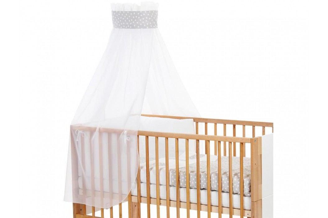 BABYBAY TOBI Betthimmel Weiß mit grauer Punkte Banderole für Kinderbett Babybay 400721 Betthimmel