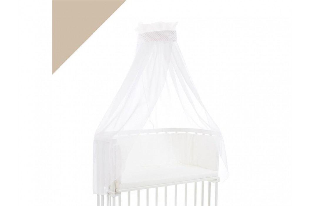 BABYBAY TOBI Betthimmel Weiß mit beiger Punkte Banderole für alle Babybay Modelle 100318 Betthimmel